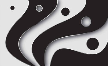 Abstract Modern Pattern Black White Fototapet