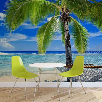 Beach Sea Sand Palms Hammock Fototapet