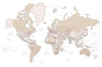 Beige detailed wold map, Louie Fototapet