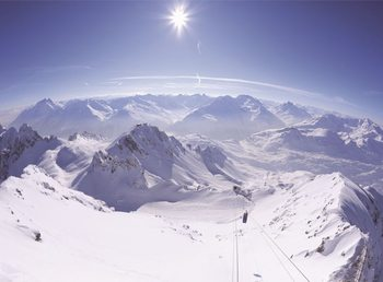 Berg i vinter Fototapet