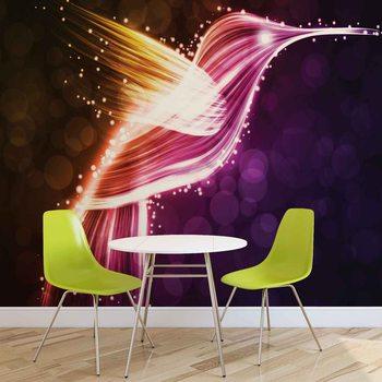 Bird Hummingbird Neon Colours Fototapet