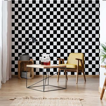 Black And White Checkered Pattern Fototapet