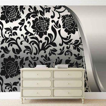 Black Silver Flower Pattern Fototapet