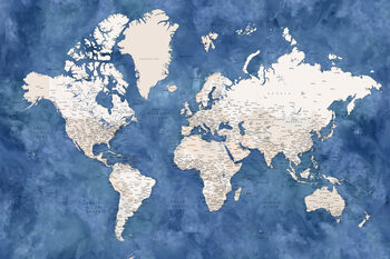 Blue and beige watercolor detailed world map Fototapet