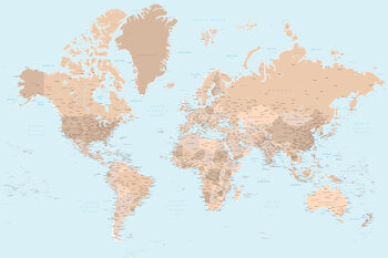 Blue and brown detailed world map with cities Fototapet