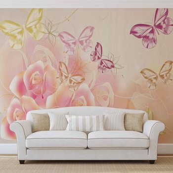 Butterflies Flowers Roses Fototapet