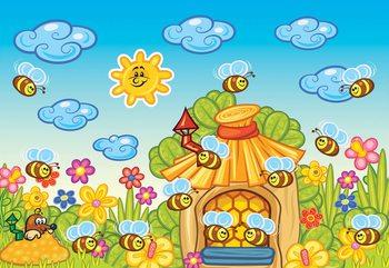 Cartoon Bees And Sunshine Fototapet