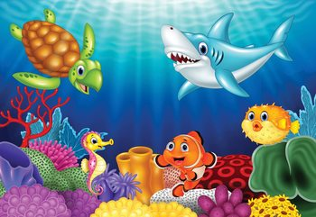 Cartoon Sea Creatures Fototapet