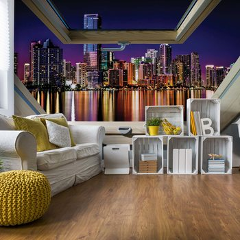 City Skyline Night 3D Skylight Window View Fototapet