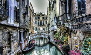 City Venice Canal Bridge Art Fototapet