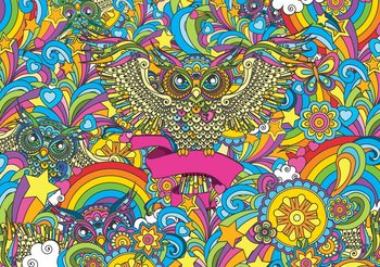 Colorful Owls Stars Rainbow Flowers Fototapet