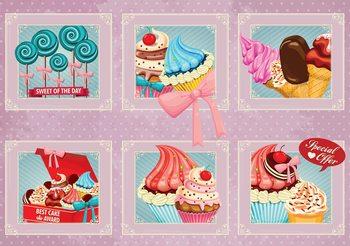 Cupcakes Pink Retro Fototapet