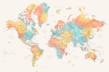 Detailed colorful watercolor world map, Fifi Fototapet