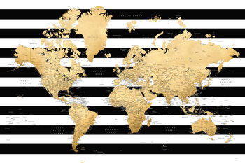Detailed gold world map with stripes, Harper Fototapet