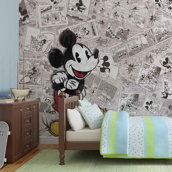 Disney Mickey Mouse Newsprint Vintage Fototapet