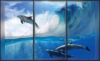Dolphins Sea Wave Jump Fototapet
