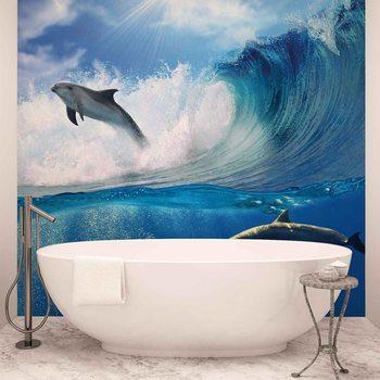 Dolphins Sea Wave Nature Fototapet