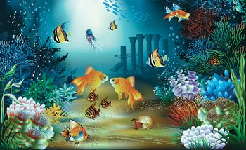 Fishes Corals Sea Fototapet