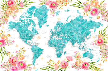 Floral bohemian world map with cities, Halen Fototapet