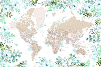 Floral bohemian world map with cities, Leanne Fototapet