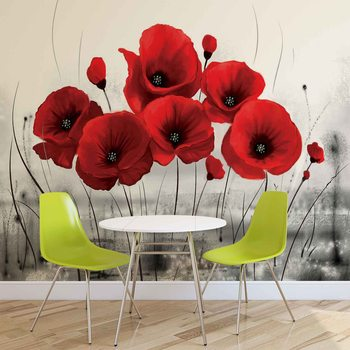 Flowers Poppies Nature Fototapet