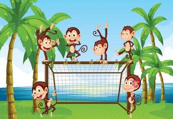 Football Monkeys Cartoon Fototapet