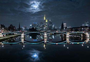 Frankfurt At Full Moon Fototapet