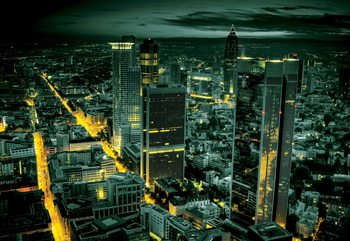 Frankfurt City Skyline At Night Fototapet