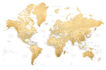 Gold world map with cities, Rossie Fototapet