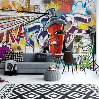 Graffiti Street Art Red Fototapet