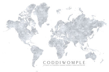 Grayscale watercolor world map, purposeful travels Fototapet