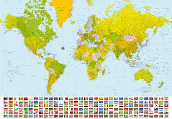 Harta Politica a Lumii Fototapet