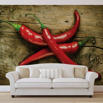 Hot Chillies Food Wood Fototapet
