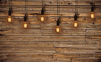 Light Bulbs Wood Plankets Fototapet