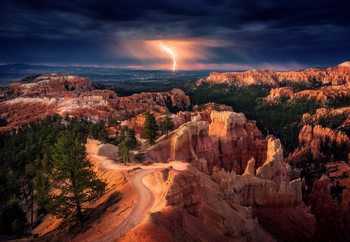 Lightning Over Bryce Canyon Fototapet