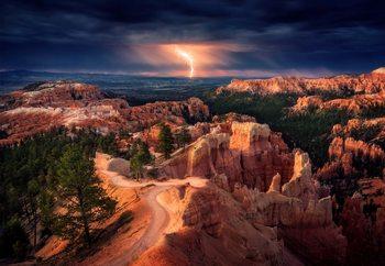 Lightning Over Bryce Canyon Fototapet