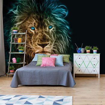 Lion Modern Light Painting Fototapet