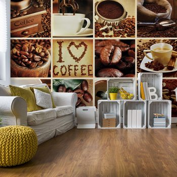 Love Coffee Squares Fototapet