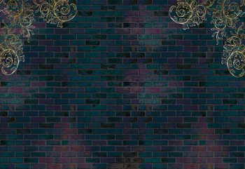 Luxury Dark Brick Wall Fototapet