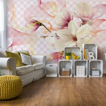 Magnolia Flowers Pink Fototapet