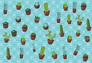 Modern Cactus Pattern Light Blue Fototapet