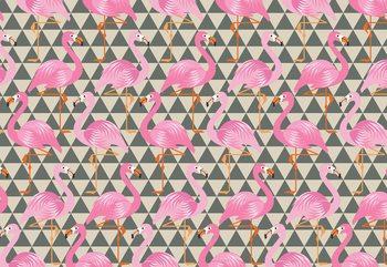 Modern Flamingo Pattern Fototapet