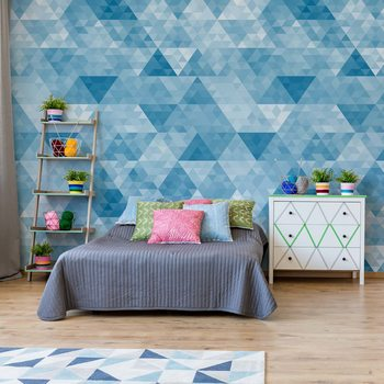 Modern Geometric Triangle Design Blue Fototapet