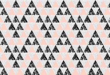Modern Geometric Triangle Pattern Pink Black Fototapet