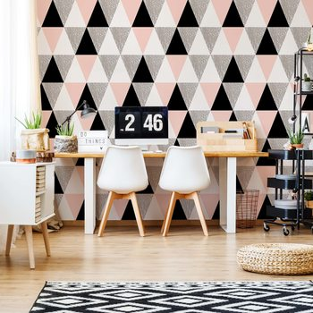 Modern Pink And Black Geometric Triangle Pattern Fototapet
