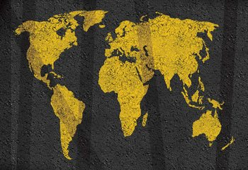 Modern World Map Grunge Texture Fototapet