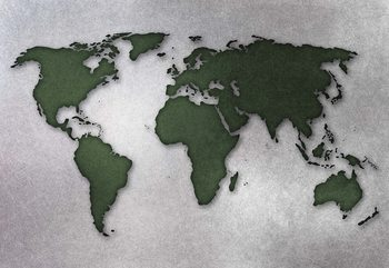 Modern World Map Silver Fototapet