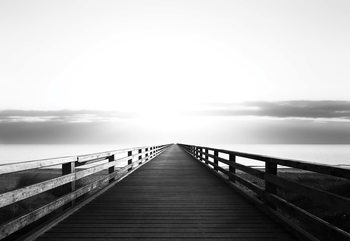 Ocean Pier Black And White Fototapet