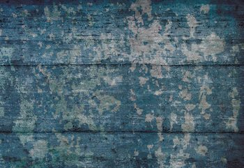 Painted Wood Texture Blue Fototapet