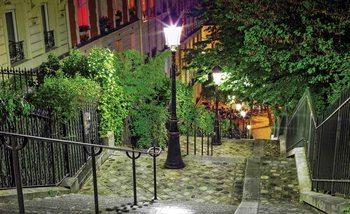 Paris City Street Night Fototapet
